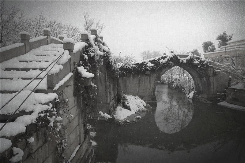 梅花洲冬日雪景赏析
